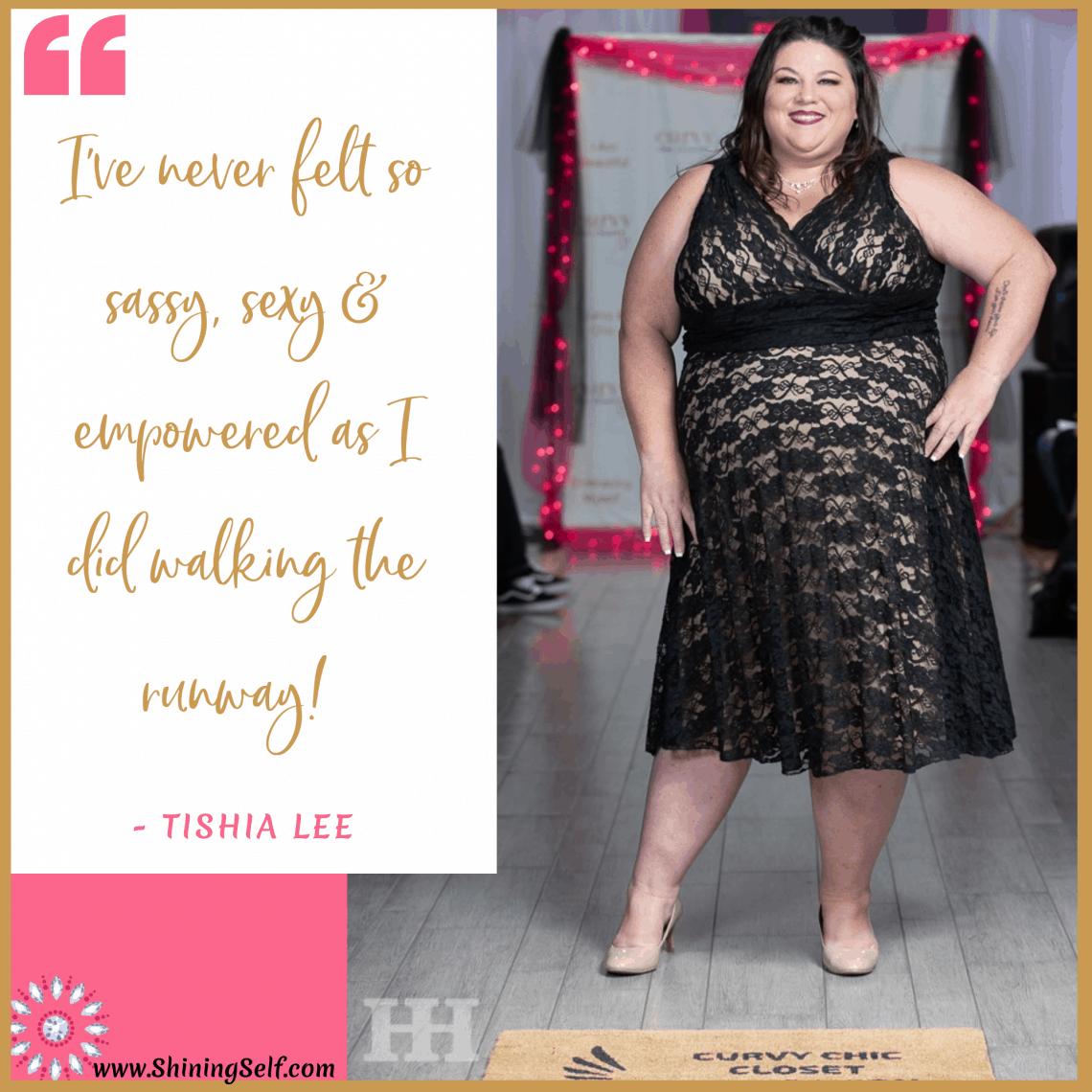 plus size model tishia lee walking in plus size fashion show